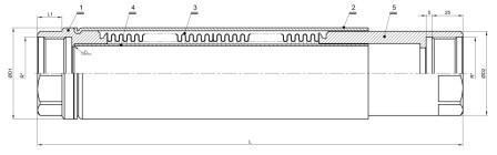 Схема — сильфонный компенсатор ST-B-Pl 40 для полипропиленовых (пластиковых) труб