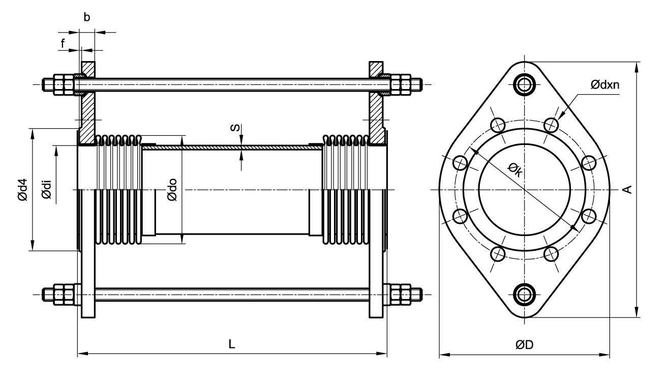 Компенсатор сильфонный КСО 2ST-03 (фланцевое соединение)